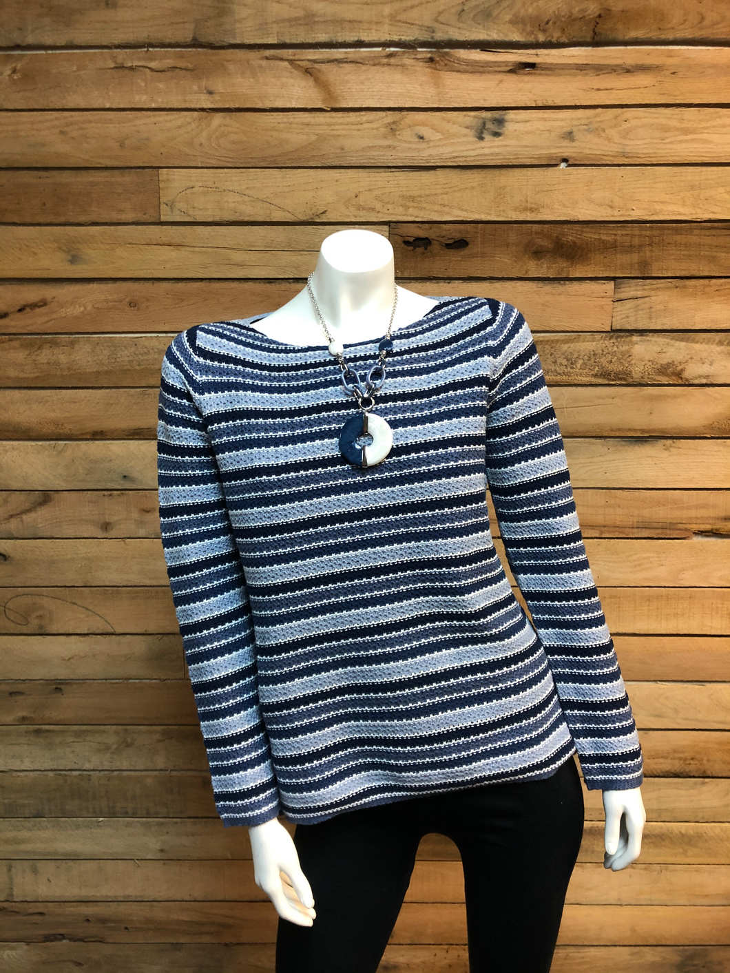 Tri-Colored Horizontal Striped Knit Sweater