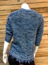 Load image into Gallery viewer, Denim Blue Fringe Bottom 3/4 Sleeves Knit Sweater