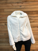 Load image into Gallery viewer, True White Zip Sherpa Jacket