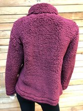 Load image into Gallery viewer, Maroon Sherpa Jacket