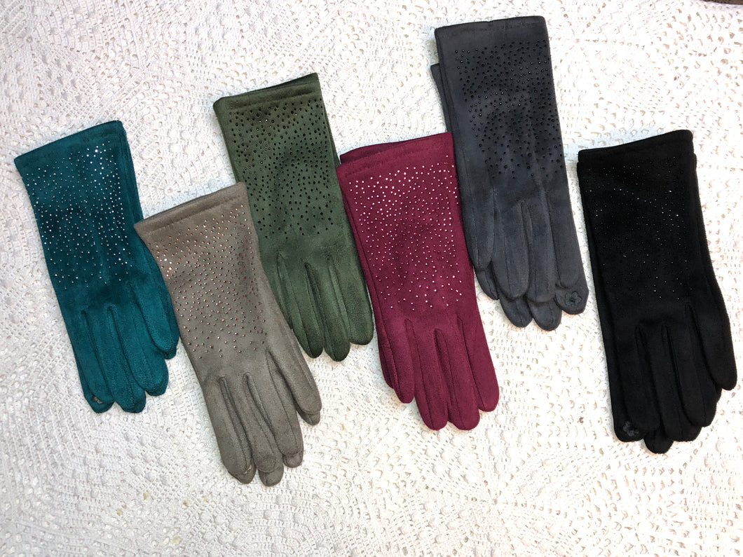 Scattered Rhinestone, Suede Gloves- six color options