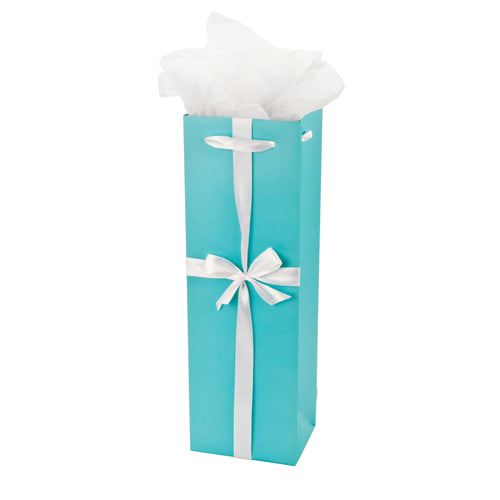 Audrey Turquoise Wine Gift Bag by Cakewalk