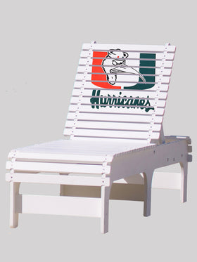 Outdoor Patio Chaise Lounge - University of Miami Hurricanes with Ibis
