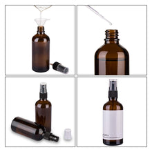 Load image into Gallery viewer, Amber Glass Spray Bottles for Essential Oils, 4oz Empty Small Fine Mist Spray Bottle 2 Pack