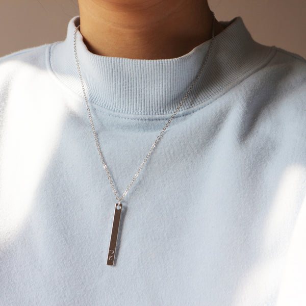 Bar Pendant Gift For Her Personalized Initial Necklace