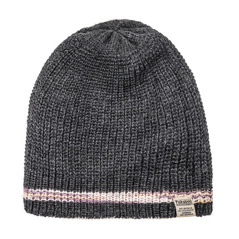 Alpaca (Reversible) Beanie - Charcoal with Mauve Multi