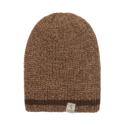 Alpaca Beanie - Brown with Grainy Mustard