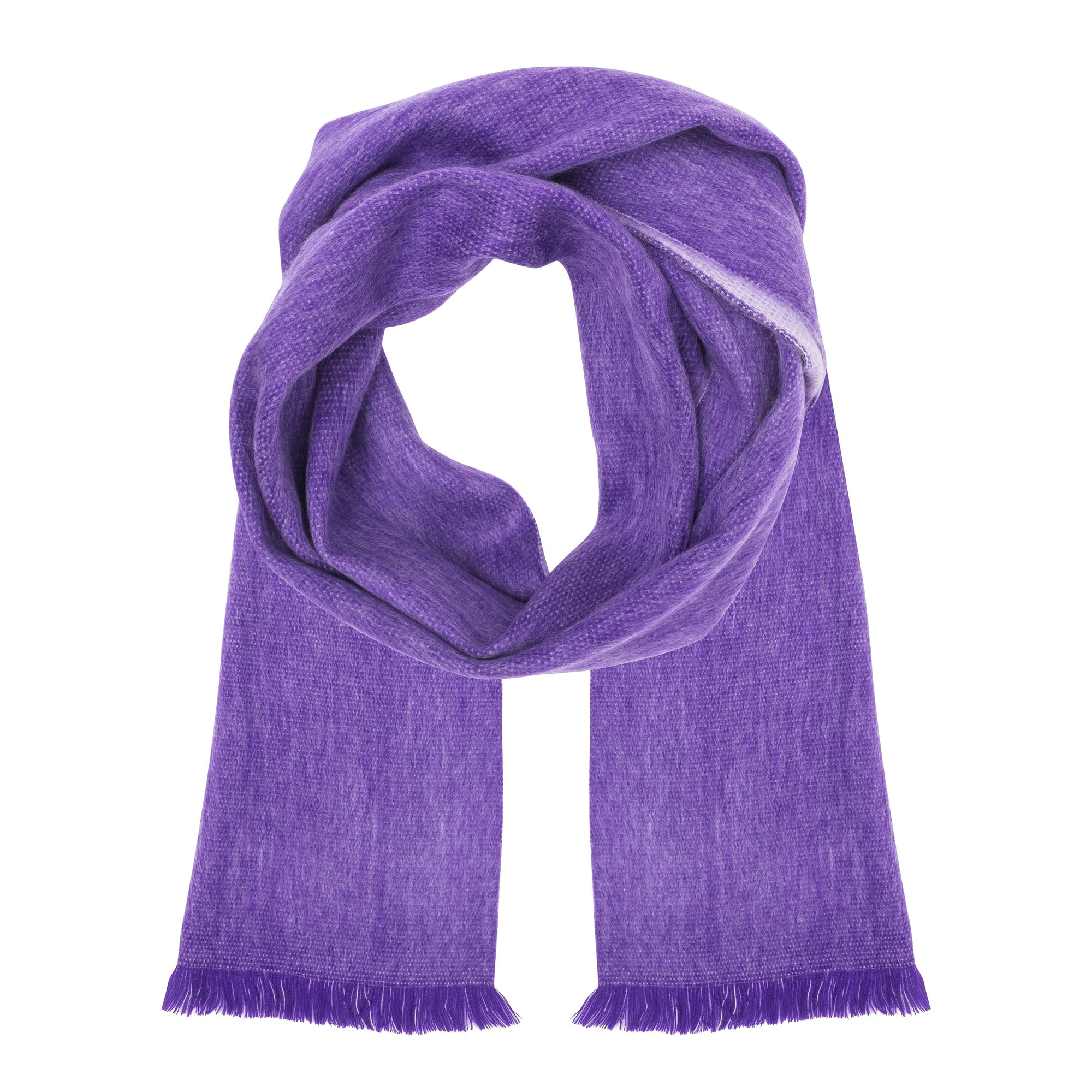 Alpaca Light Purple / Tan Double Weave Scarf