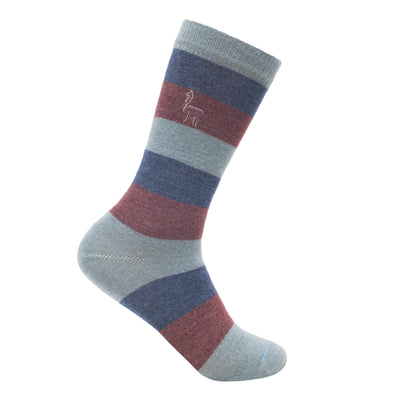 Alpaca Striped Grey Navy Aubergine Socks