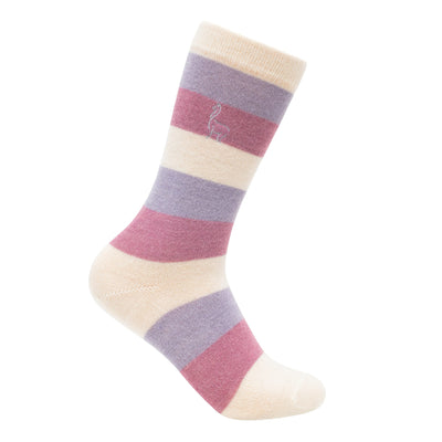 Alpaca Striped White Lavander Rose Socks