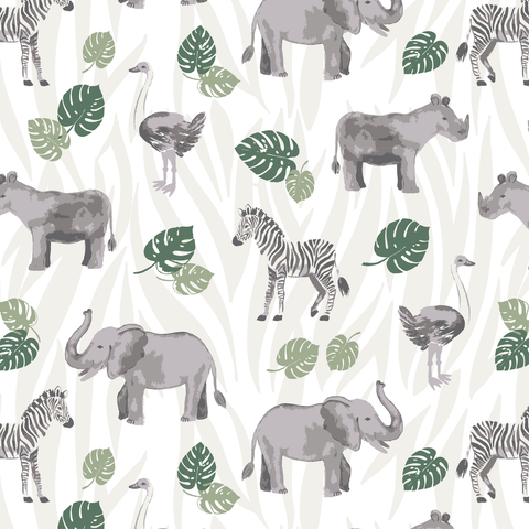 Animals & Jungle Leaves Space Swaddle