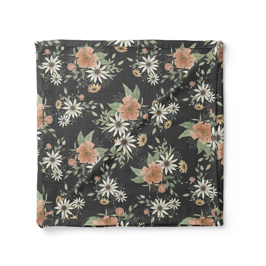 Mini Scout Swaddle- Charcoal Blossom