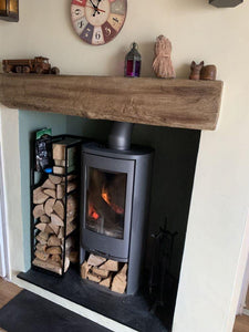 Slim Tall log basket with Kindle Shelf. Handmade in Lincolnshire