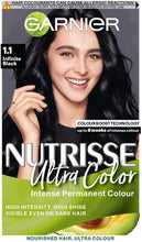 Load image into Gallery viewer, Hair  Dye -  Garnier Nutrisse Ultra Color 1.10 Infinite Black Permanent Hair colour