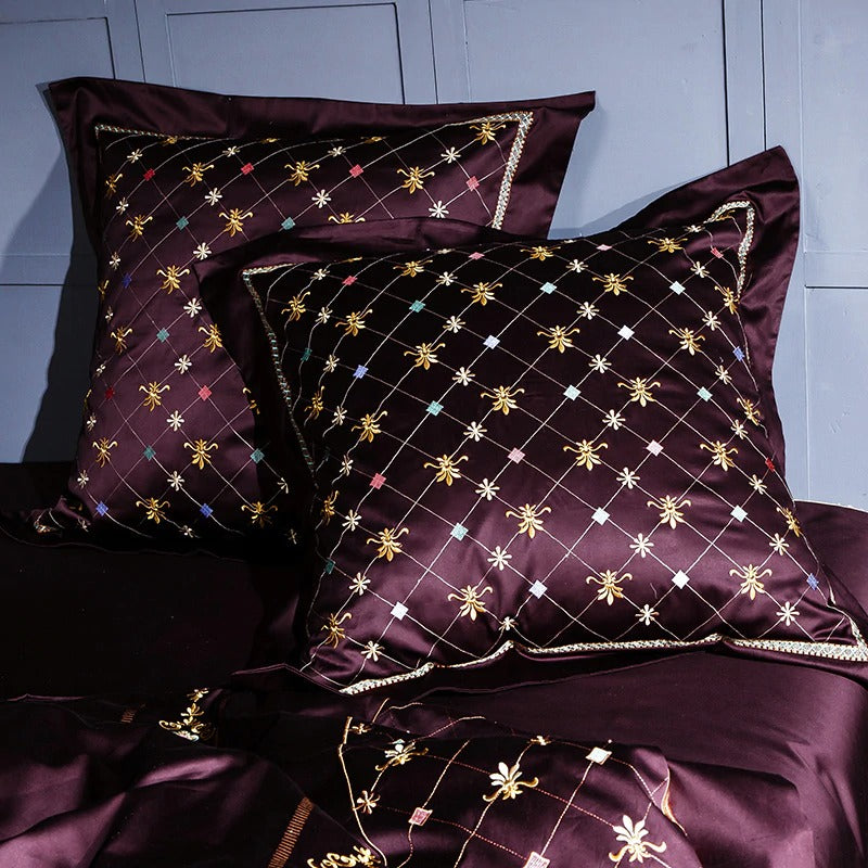 Silky Golden Wine Luxury Jaquard Bedding Set (Egyptian Cotton)