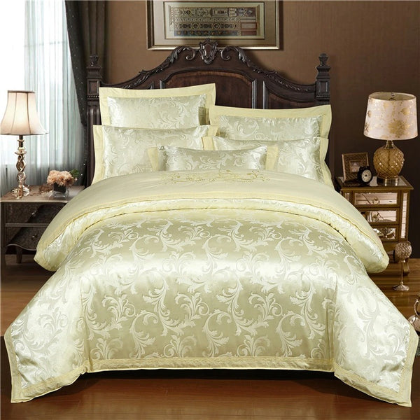Celine Light Gold Silky Jaquard Bedding Set