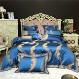 Royal Blue Temple Of Luxury Jaquard Bedding Set (Egyptian Cotton)