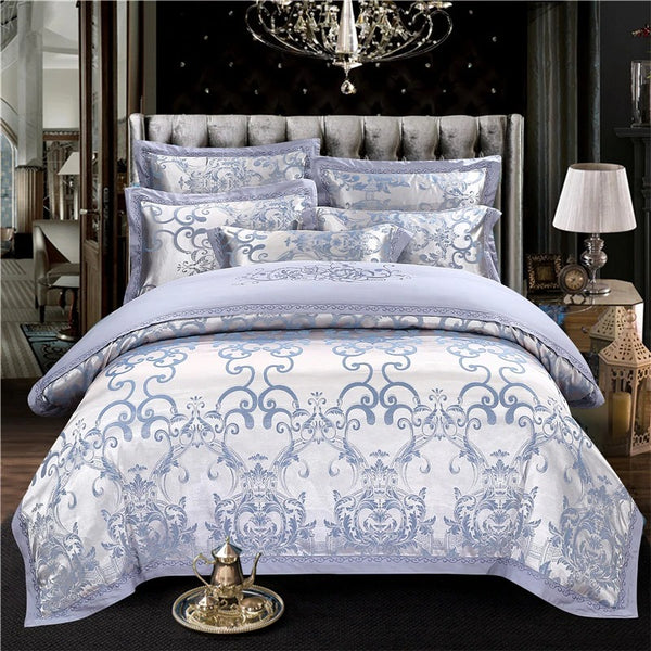 Adelais Soft Cornflower Blue Silky Jaquard Bedding Set