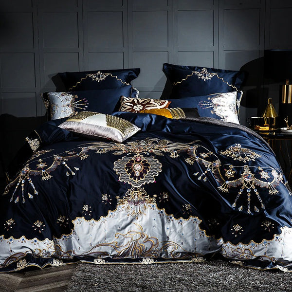 Royal Blue Ocean Luxury Jaquard Bedding Set (Egyptian Cotton)