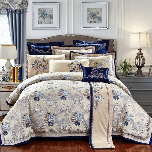 Three Roses of Cleopatra Luxury Jaquard Bedding Set