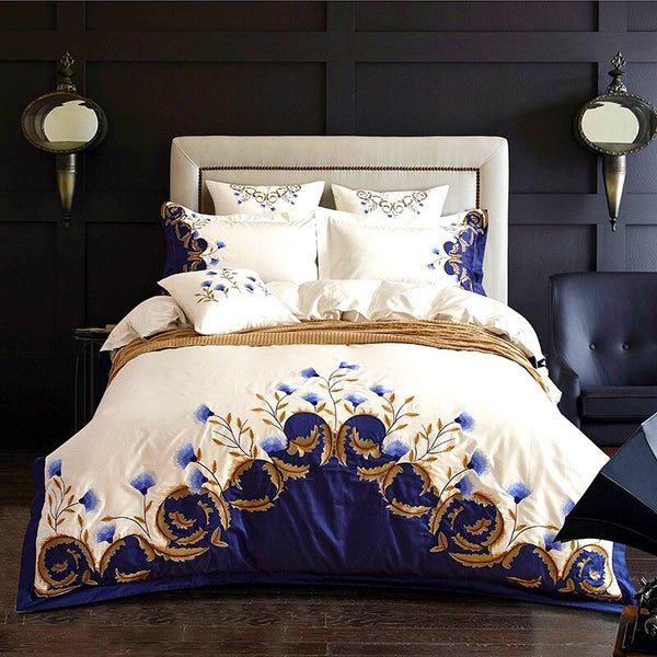 Royal Blue Garden Bedding Set (Egyptian Cotton)