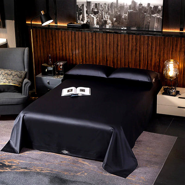 Classic Black Silky Bedding Set (Egyptian Cotton)