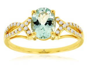 AQUAMARINE & DIAMOND RING (C6840Q)