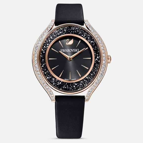 Crystalline Aura Watch, Leather strap, Black, Rose-gold tone PVD