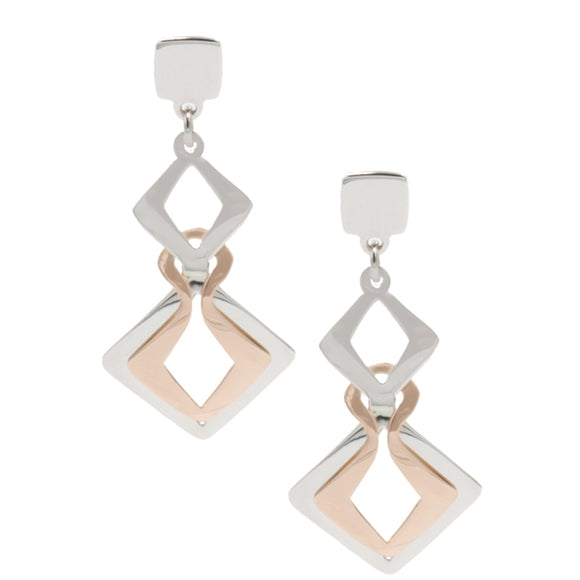 Sterling Silver Rose Gold plated square interlude earrings