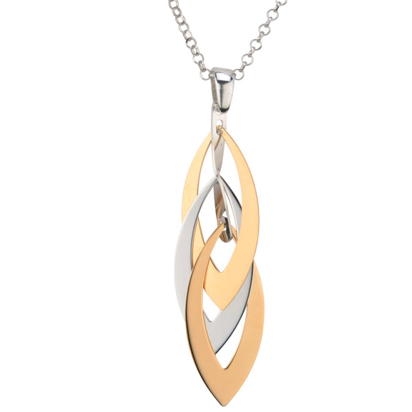 Sterling Silver and Yellow Gold Plated Layers Marquise Necklace