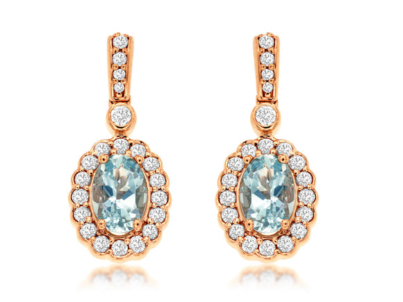 AQUAMARINE & DIAMOND EARRING (PC8305Q)