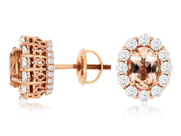 MORGANITE & DIAMOND EARRING (PC8426M)