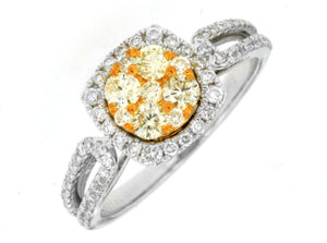YELLOW DIAMOND & DIAMOND RING (WC6925Y)