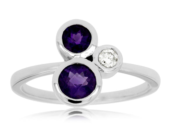 AMETHYST & DIAMOND RING (WC7016A)