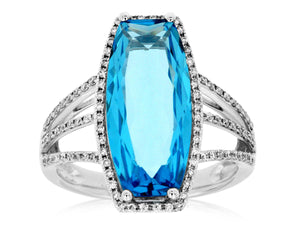BLUE TOPAZ & DIAMOND RING (WC7397B)