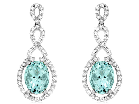 AQUAMARINE & DIAMOND EARRING (WC7679Q)