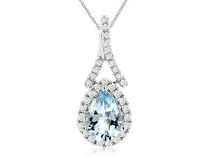 AQUAMARINE & DIAMOND PENDANT (WH1178Q)