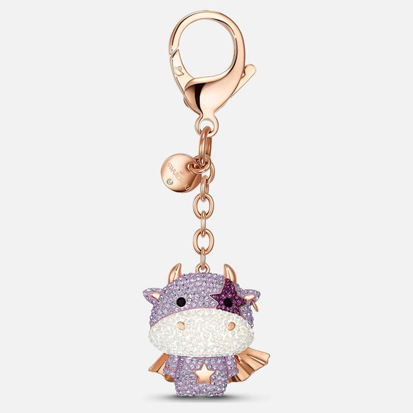 Zodiac Cow Bag Charm, Purple, Rose-gold tone plated