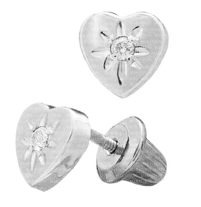 CHILD'S DIAMOND HEART EARRING