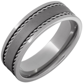 Titanium Flat Band with Two 1mm Steel Rope Inlays