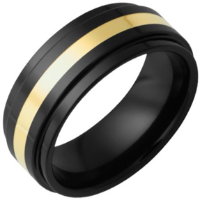 Black Diamond Ceramic Flat Band with Grooved Edges and 2mm 18k Yellow Gold Inlay