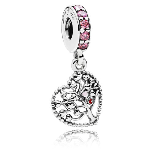 Pink Family Tree Dangle Charm