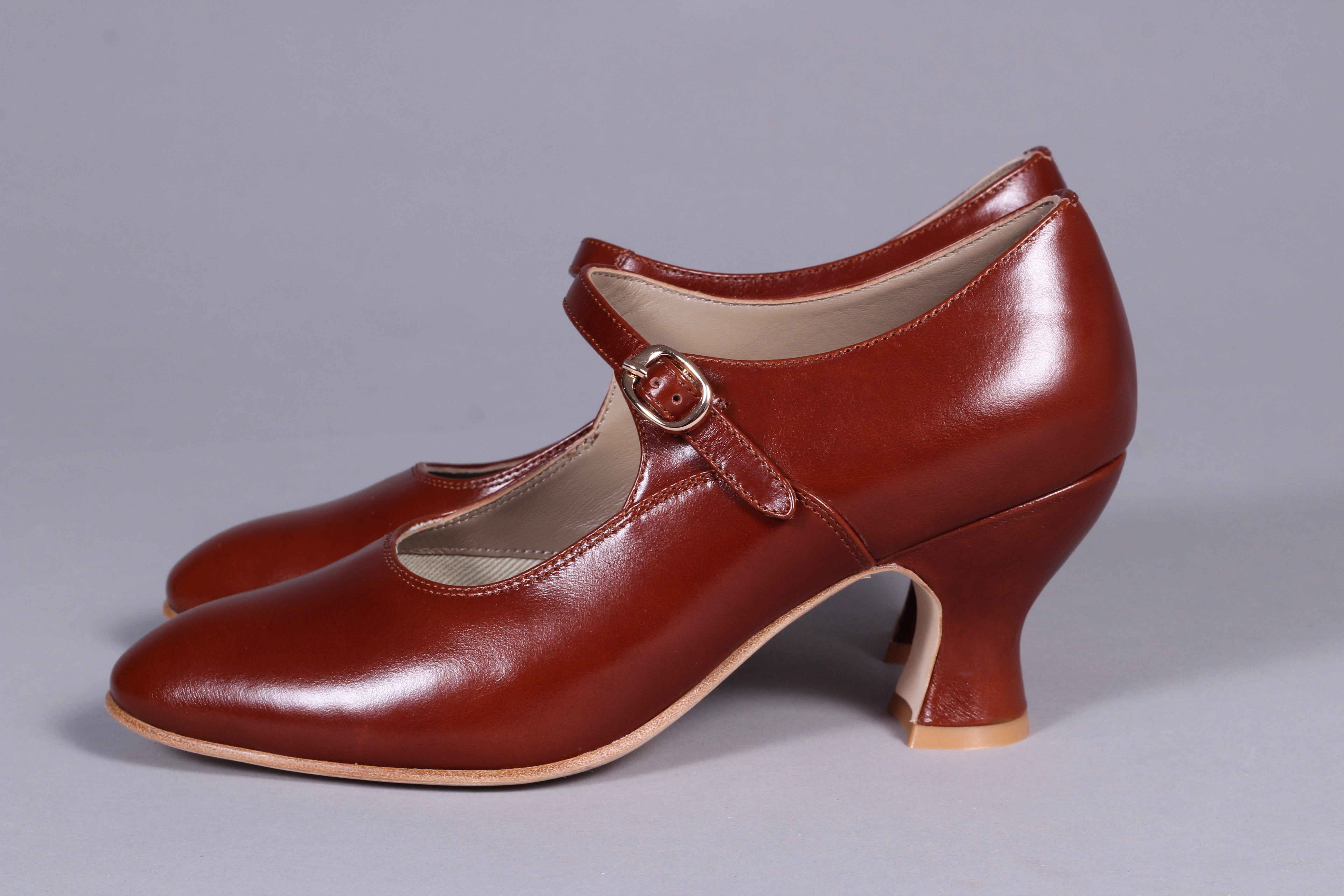 1920's inspired Mary Jane pumps - Cognac brown - Yvonne