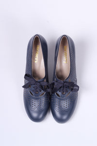 1930s everyday oxford high heel shoes - Marine Blue - Marie
