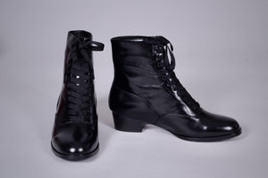 20s / 30s style everyday leather boot  - Black - Britta