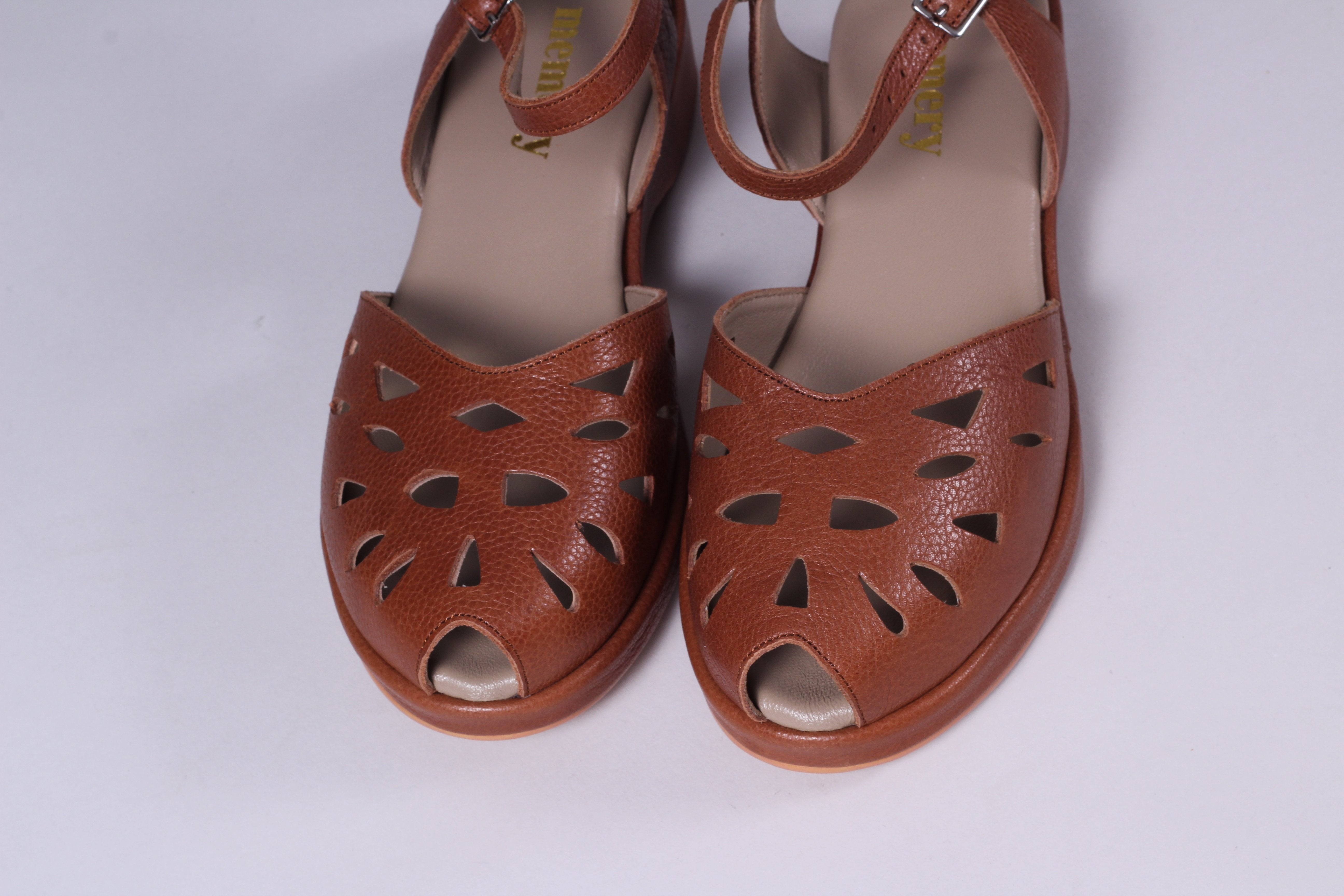 1940s / 50s style summer sandals /  wedges - Brown - Sidse