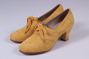 VEGAN shoes - 40s vintage style pumps with shoe lace - Yellow - Esther