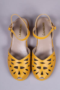1940s / 50s style summer sandals /  wedges - Mustard Yellow - Sidse