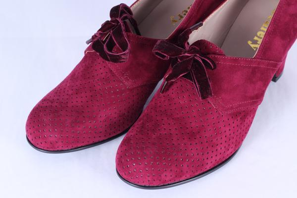 40's vintage style pumps in suede with lace - Red - Esther