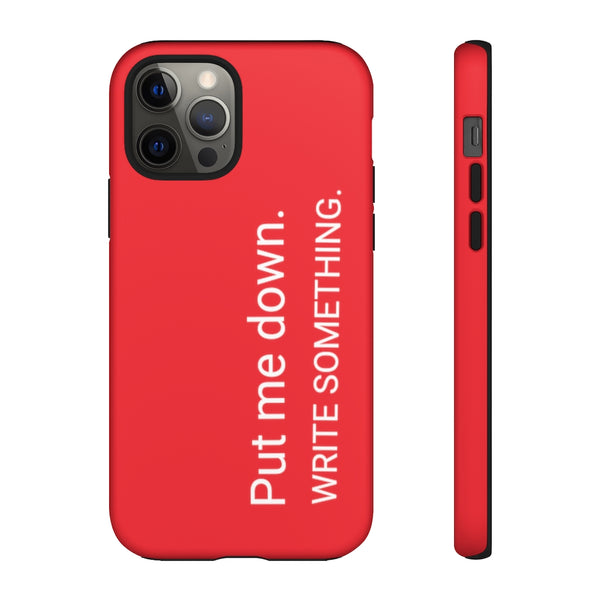 Put Me Down iPhone Case in Deadline Red